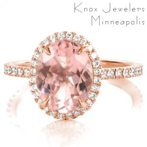 Rose gold engagement ring with morganite center stone and micro pave diamonds.
