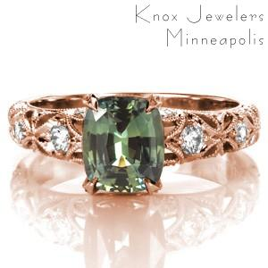 Custom engagement ring in Henderson with cushion cut green sapphire in a rose gold setting.