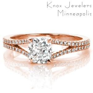 Rose gold engagement ring in Fresno with split shank, cushion center and micro pave diamonds.
