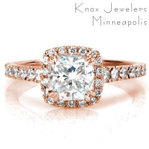 Rose gold halo engagement ring in Virginia Beach features stunning hand formed filigree and heart filigree.