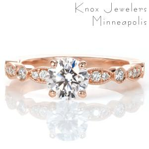 Rose gold engagement ring in Fresno with elegant band and round center stone.