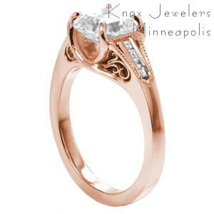 Anaheim rose gold engagement ring with filigree, channel set diamonds and asscher cut center stone.