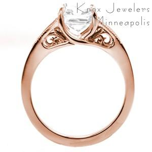 Ottawa rose gold engagement ring with filigree, asscher center and channel set diamonds.