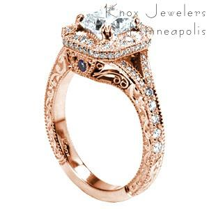 Rose gold engagement ring in Dayton with relief engraving, filigree and diamond halo.