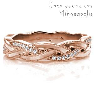Anaheim rose gold wedding band with overlapping bands and micro pave diamonds.