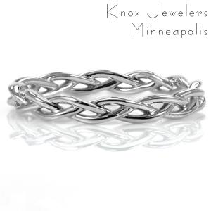 Design 3596 brings simple elegance to life as a delicately woven band. This braided band is made with a dainty width perfect for those wanting a unique refined ring. Perfect for any occasion from a promise ring, to a wedding band, to an anniversary celebration.