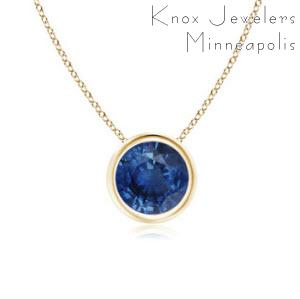 Pick and choose a Montana Sapphire and have it set in the metal of your choice. Our Montana Sapphires are mined from the Rock Creek deposit and all manufacturing is done in the USA. Sapphire colors include blue, pink, yellow, green, turquoise, and brown. Price includes chain. While supplies last.