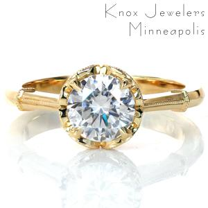Simplicity, elegance, and femininity are the defining characteristics of our Fiona design. A classic solitaire is dressed up with milgrain-adorned swirls around the four-prong center setting and milgrain wraps around the polished band. A 1.0 carat round diamond is the star of this vintage inspired beauty.