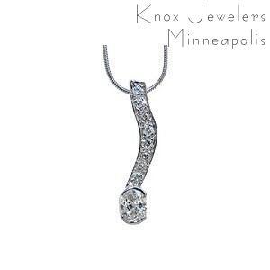 Oval Diamond Drop - Pendants