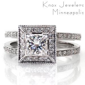 SPlit shank princess cut halo engagement ring