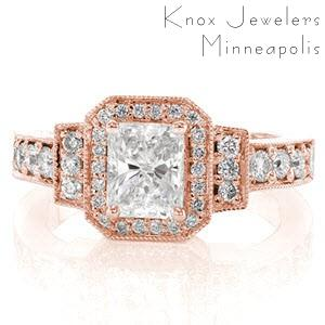 Art Deco engagement ring in Kansas City with radiant center stone and rose gold setting.