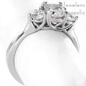 Three stone cushion cut trellis engagement ring