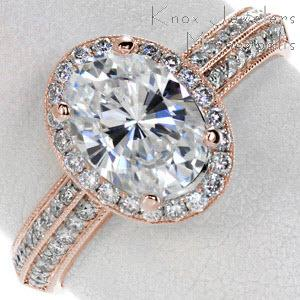Washington D.C. halo engagement ring with oval center stone, double row diamond band and rose gold setting.