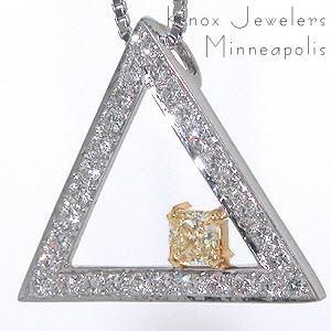 Fancy Yellow Triangle Diamond Halo- .37 ct.  - Pendants