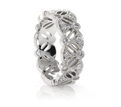 diamond wedding band featuring bezel set round diamonds with milgrain - Wedding Rings And Bands