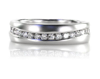 Channel set diamond eternity band.
