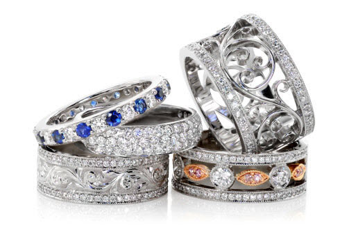 A collection of unique wedding bands made by Knox Jewelers