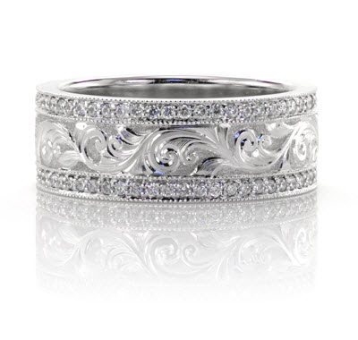 Hand Engraved Wedding Ring In Platinum With Bead Set Diamonds